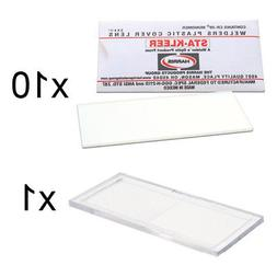 10 Clear Hood Lens Covers & 1 Plastic Magnifier 2.00 Diopter
