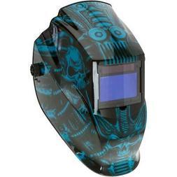 Blue Techno Skull Flame Auto-Darkening Welding Helmet