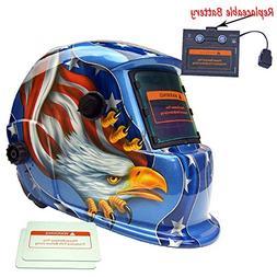 iMeshbean Blue Eagle Design Solar Powered Welding Helmet Aut