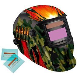 iMeshbean Cool Military Green Solar Auto-Darkening Welding &