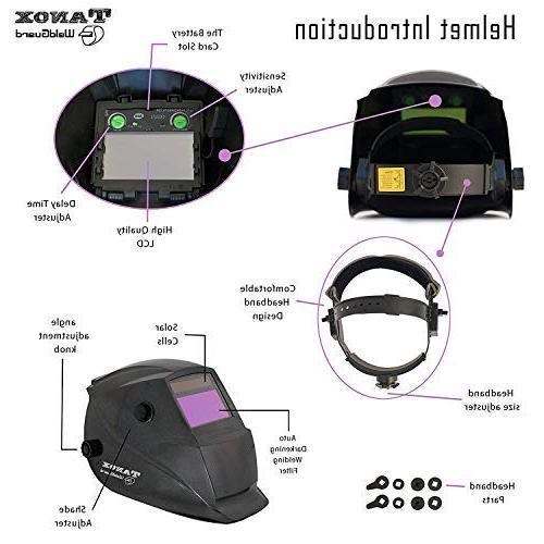Tanox Solar Powered Welding Helmet Shade Lens, Mig MMA, Grinding 0000, Plus Inch Kevlar Welding Gloves