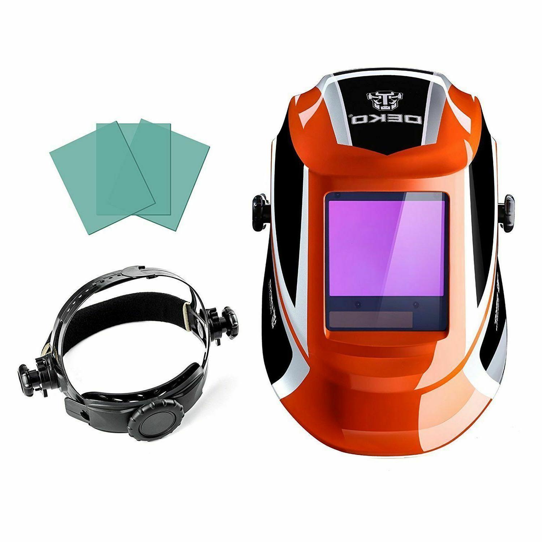 DEKOPRO Auto Darkening Solar Powered Welding Helmet With Len