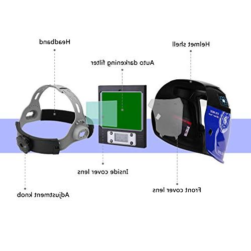 Durable Solar Helmet Auto Hood Digital Display Accurate Adjustable Shade Tig Arc Welder Mask