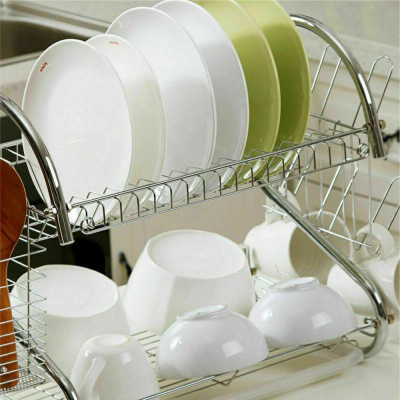 Kitchen Cup Rack 2-Tier Dryer Steel
