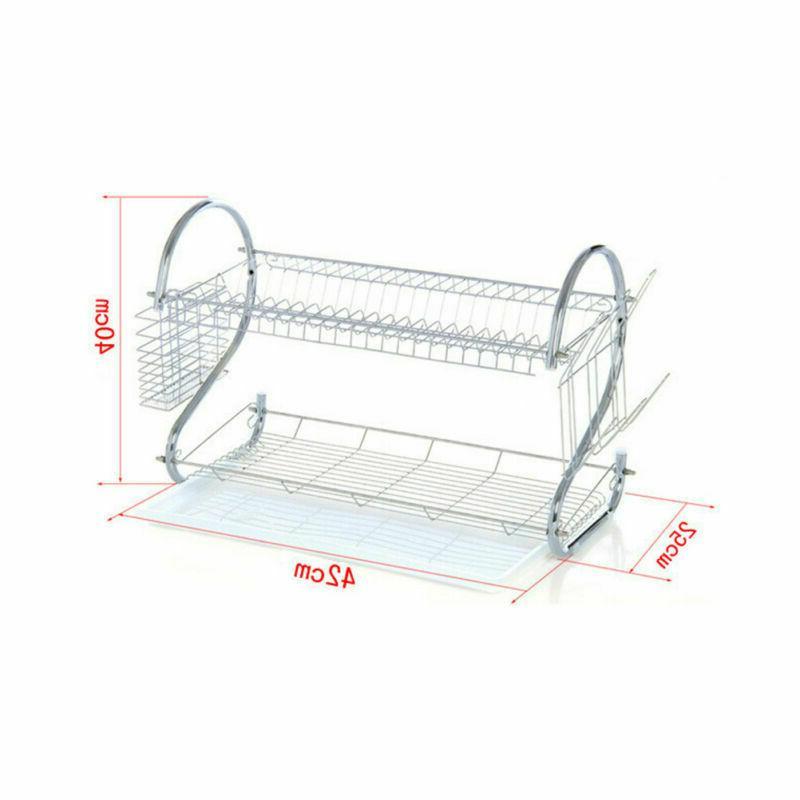 Kitchen Dish Rack Drainer 2-Tier