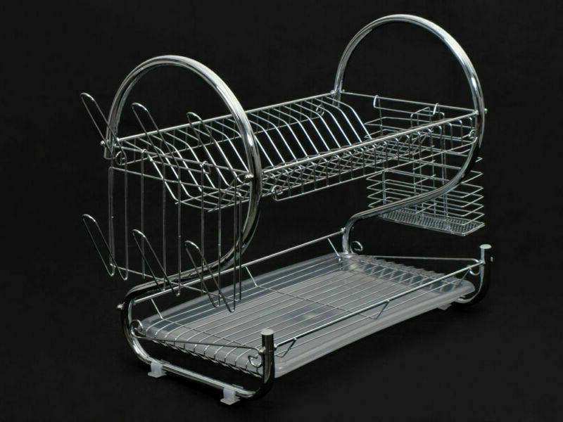 Kitchen Cup Rack Sink Drainer 2-Tier Dryer