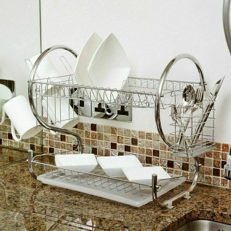 Kitchen Cup Drying Rack Sink Drainer 2-Tier Dryer Stainless Steel