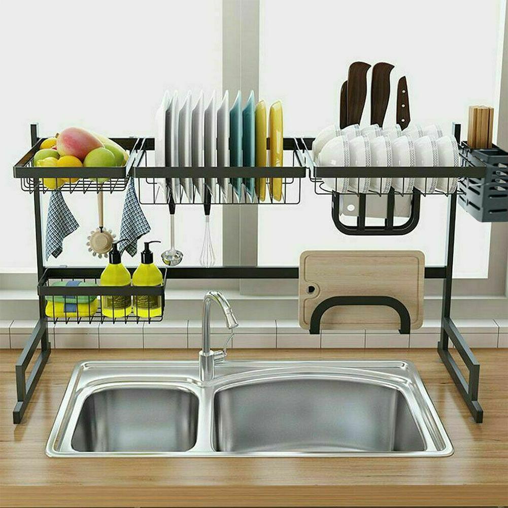 Over Sink Rack Drainer Stainless Steel Kitchen Cutlery Holder