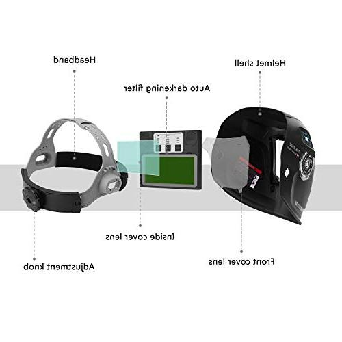 DEKOPRO Solar Welding Helmet with Wide Range 4/9-13 for Tig