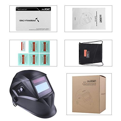 Welding Helmet Optical Class 1/1/1/1, Shade Range 3/4-8/9-13, Protection 16, Replacement Lenses, Bag, Grinding MIG MMA PAH04D