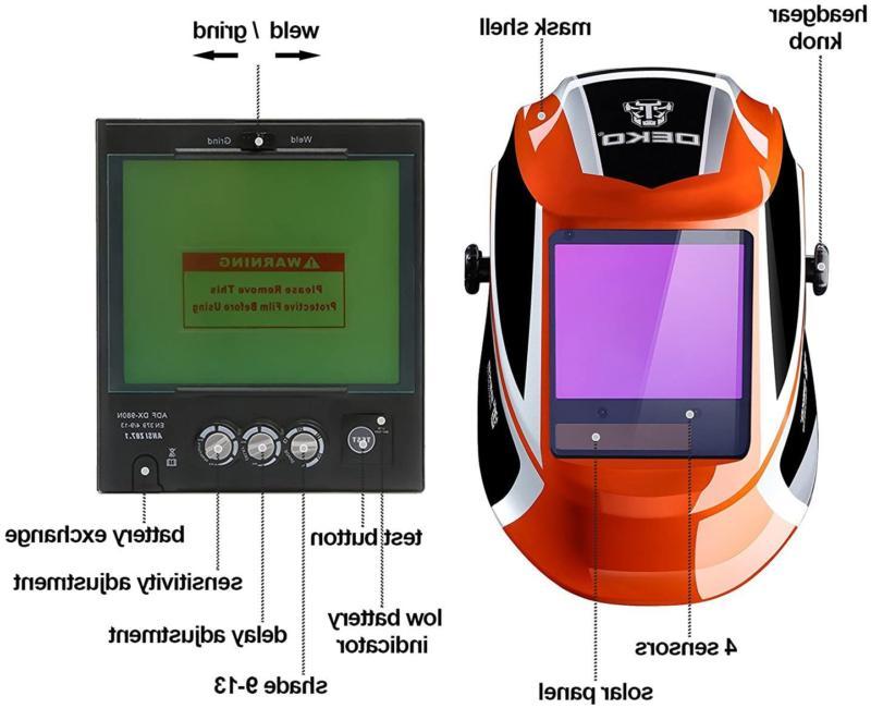 DEKOPRO Welding Helmet Auto Darkening Solar viewing Professio
