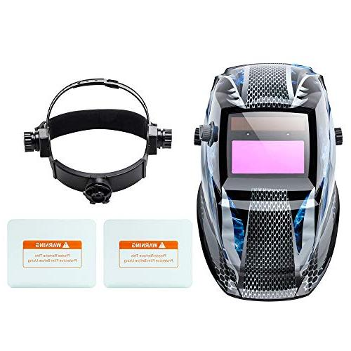 Z ZTDM Welding Mask Darkening,Adjustable Shade ARC MIG TIG,2pcs Lens+CR2032 Battery,CE ANSI Z87.1