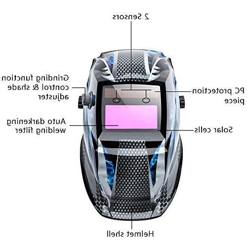 Mask Solar Auto Shade Range DIN Gear ARC TIG,2pcs Extra Lens+CR2032 EN379 Z87.1 Approved