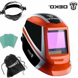 Orange Solar Auto Darkening Welding Helmet Arc Tig Mig Mask