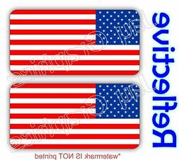 REFLECTIVE American Flags Hard Hat Welding Helmet Decals Sti