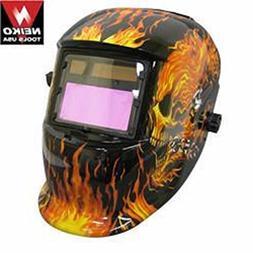 Professional Solar Powered Welding Helmet Flaming Skull Desi