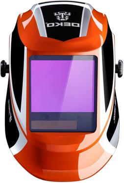 welding helmet auto darkening solar powered wide