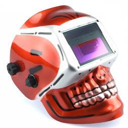 Welding Helmet Red Skull Auto Darkening Mig Tig Arc Welder P
