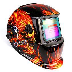 Welding Helmet Solar Powered Auto Darkening Hood 4/9-13 Flam